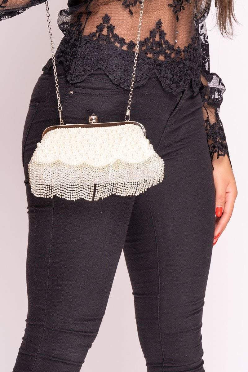 Evie Silver Diamante & Pearl Embellished Bag - ONE SIZE Silver