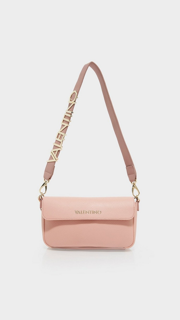 Valentino Bags Alexia Letter Strap Small Shoulder Bag - Pink - Womens, Pink