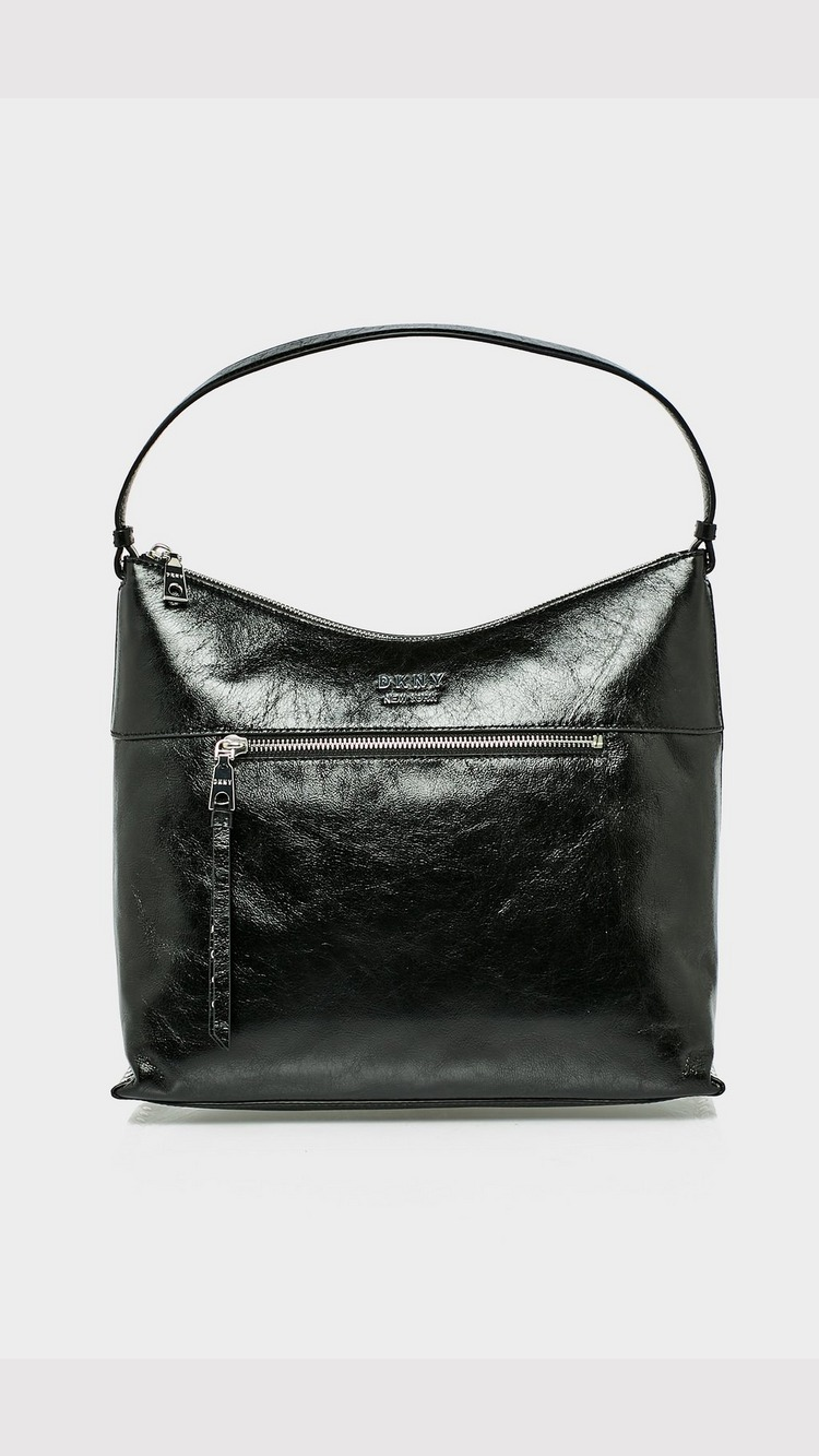 DKNY Iris Leather Hobo Bag - Black and Silver - Womens, Black and Silver